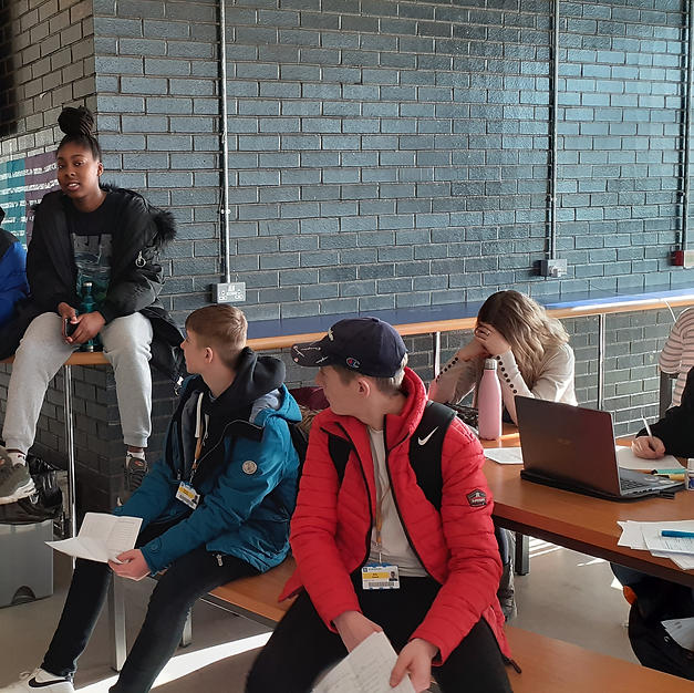 Cast preparing for filming