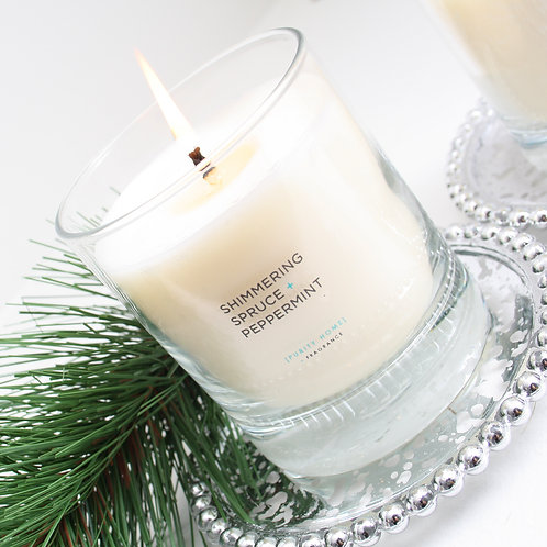 SHIMMERING SPRUCE & PEPPERMINT - SCENTED CANDLES