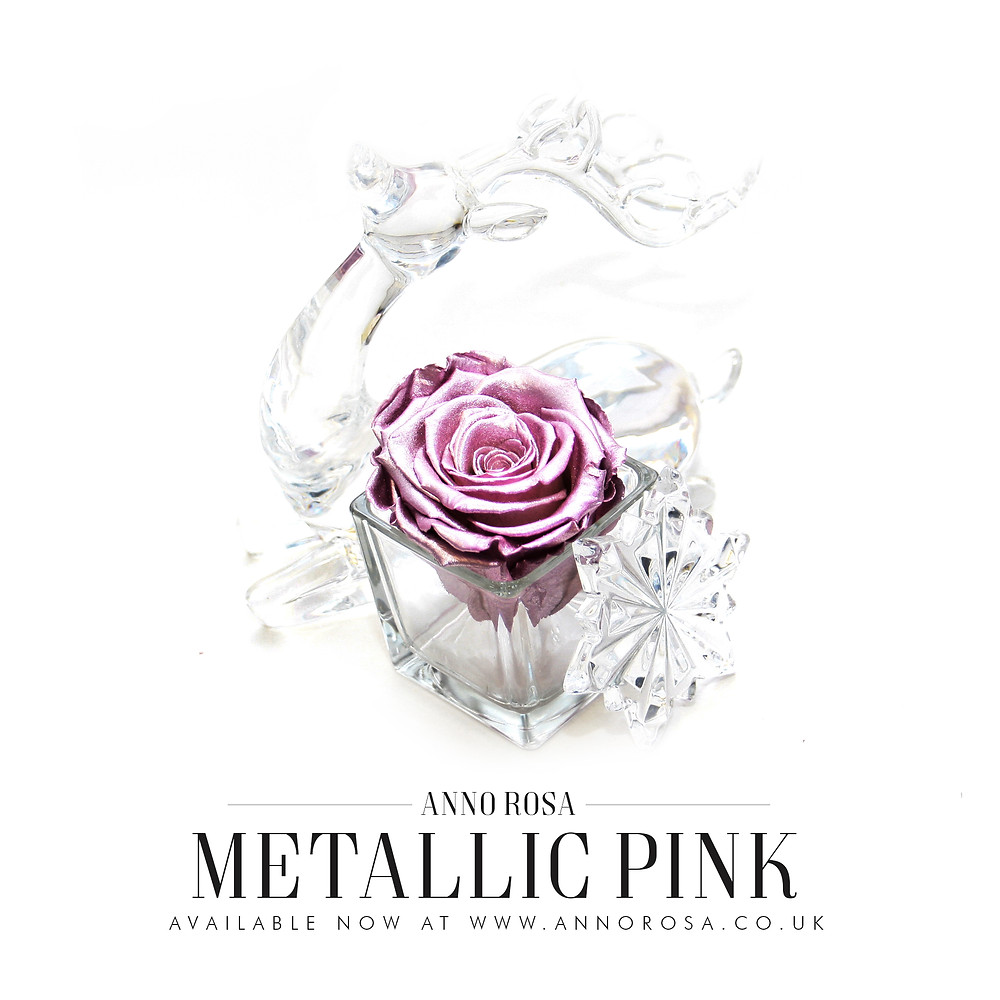 Infinity Rose that lasts a year - Metallic Pink