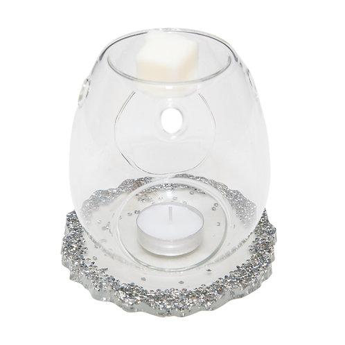 CLEAR GLASS WAX BURNER WITH HANDMADE DIAMANTÉ RESIN BASE