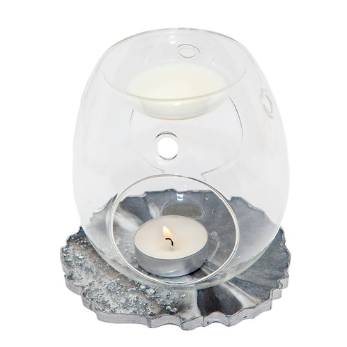 CLEAR GLASS WAX BURNER WITH HANDMADE SPARKLE RESIN BASE