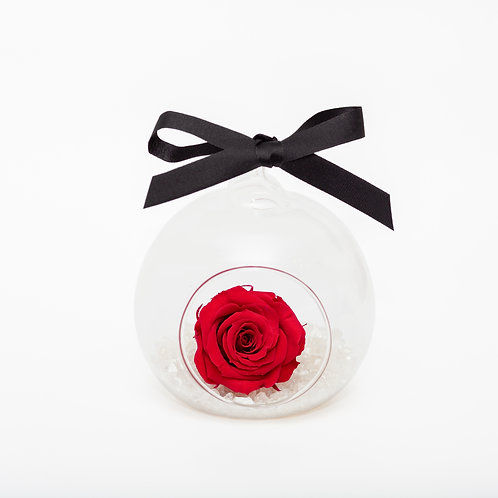 CHRISTMAS SNOW ROSE BAUBLE - CRANBERRY