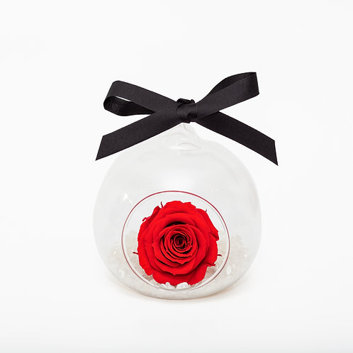 CHRISTMAS SNOW ROSE BAUBLE - RED