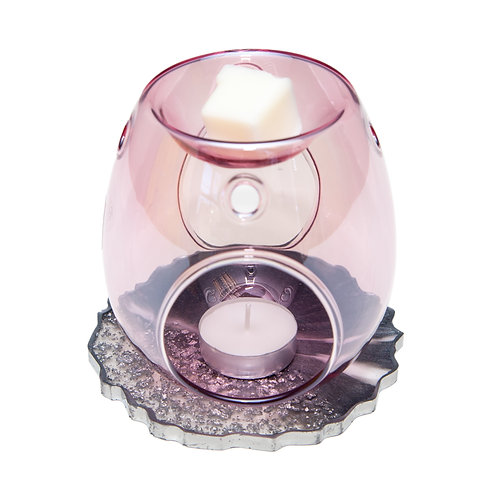 PINK GLASS WAX BURNER WITH HANDMADE SPARKLE RESIN BASE