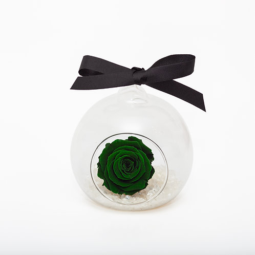 CHRISTMAS SNOW ROSE BAUBLE - GREEN