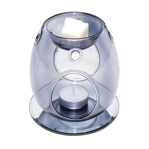 GREY GLASS WAX BURNER WITH CLASSIC MIRROR BASE