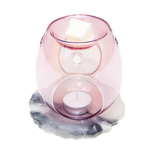 PINK GLASS WAX BURNER WITH HANDMADE MARBLE RESIN BASE