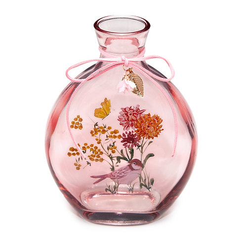 PINK BOTANICAL BOTTLE VASE - MEDIUM
