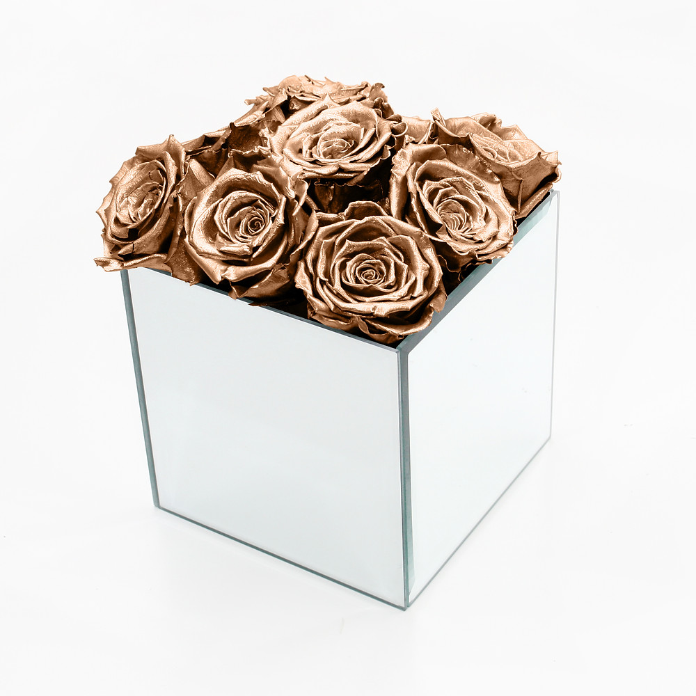 Rose Gold Preserved Rose Cube