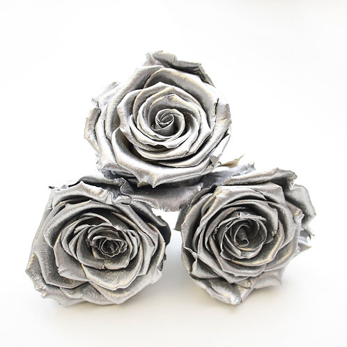 Metallic Silver roses that will last a year