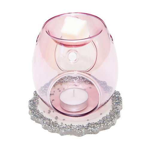 PINK GLASS WAX BURNER WITH HANDMADE DIAMANTÉ RESIN BASE
