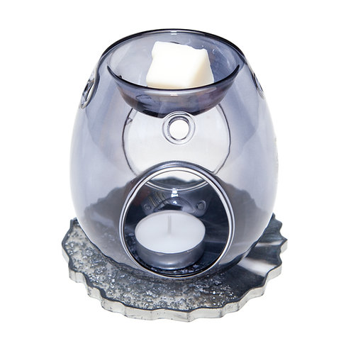 GREY GLASS WAX BURNER WITH HANDMADE SPARKLE RESIN BASE