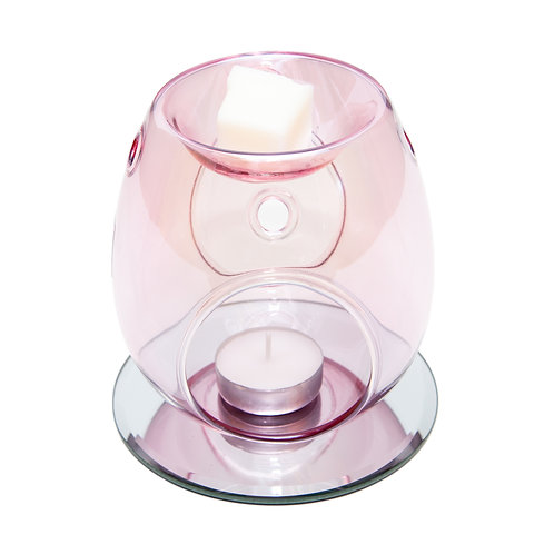 PINK GLASS WAX BURNER WITH CLASSIC MIRROR BASE