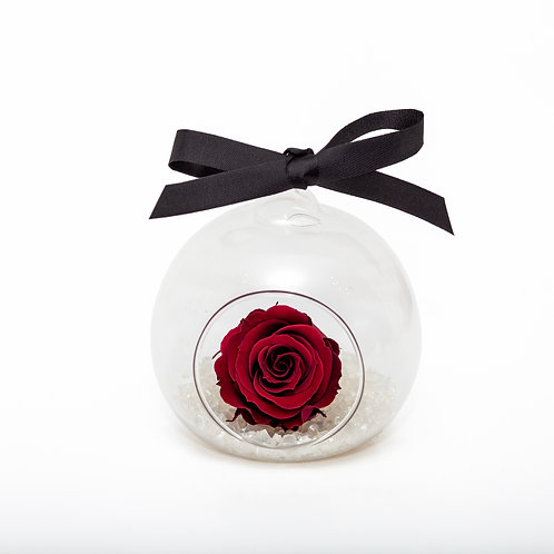 CHRISTMAS SNOW ROSE BAUBLE - WINE