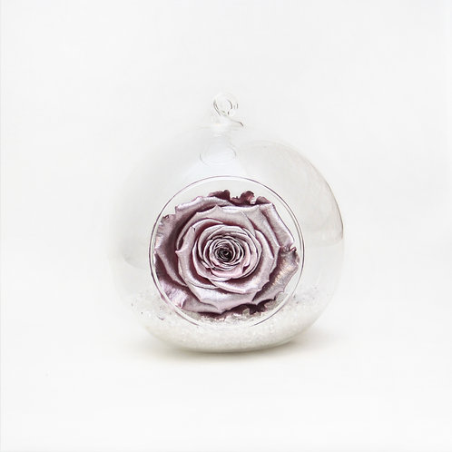Metallic Pink Rose in Bauble