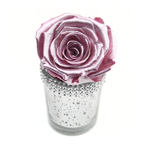 Metallic Pink Infinity Rose that lasts a year