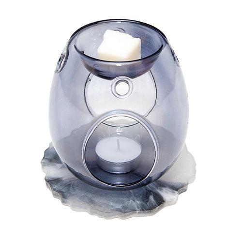 GREY GLASS WAX BURNER WITH HANDMADE MARBLE RESIN BASE