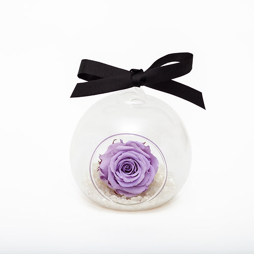 CHRISTMAS SNOW ROSE BAUBLE - LILAC