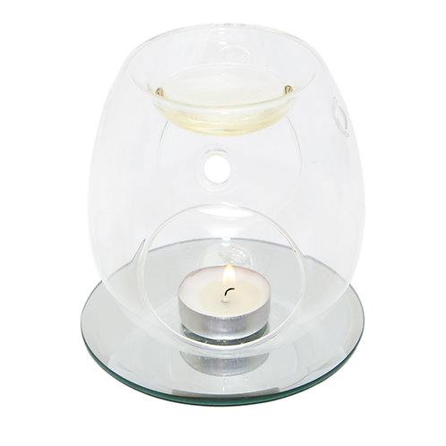 CLEAR GLASS WAX BURNER WITH CLASSIC MIRROR BASE