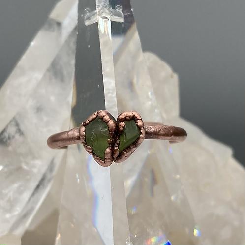 Peridot Heart Ring size ~6.75