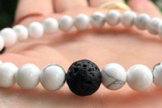 Howlite and Lava Crystal Healing Bracelet