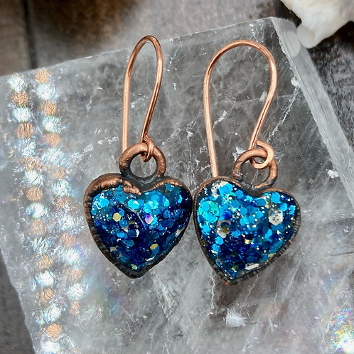 Electroformed Cosmic Heart Earring