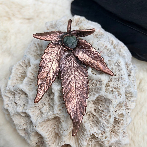 Copper Electroformed Sativa Leaf with Genuine Emerald