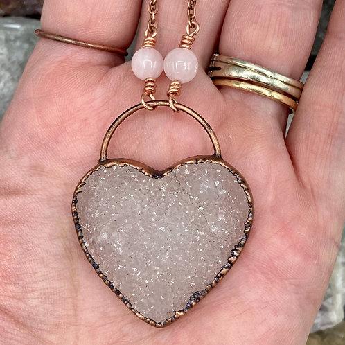 Druzy Heart with rose Quartz
