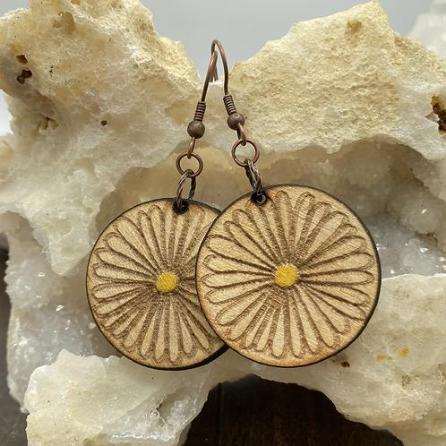 Wooden Daisy Earrings