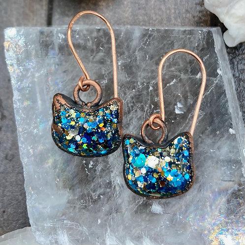 Electroformed Cosmic Kitty Earrings