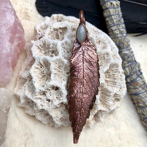 Copper Electroformed Sativa Leaf with Moonstone