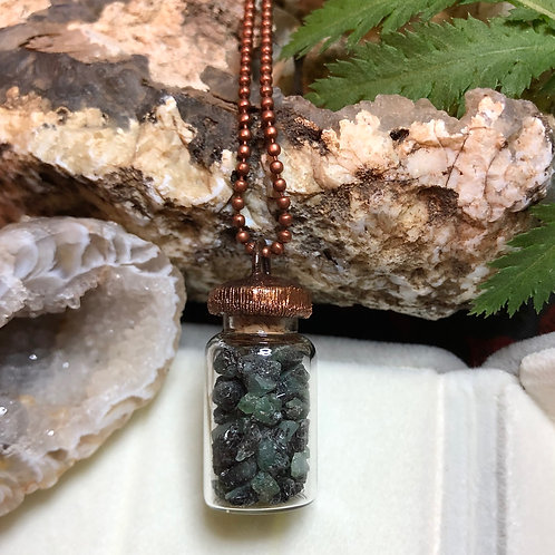 Copper Electroformed Natural Emerald Filled Vial