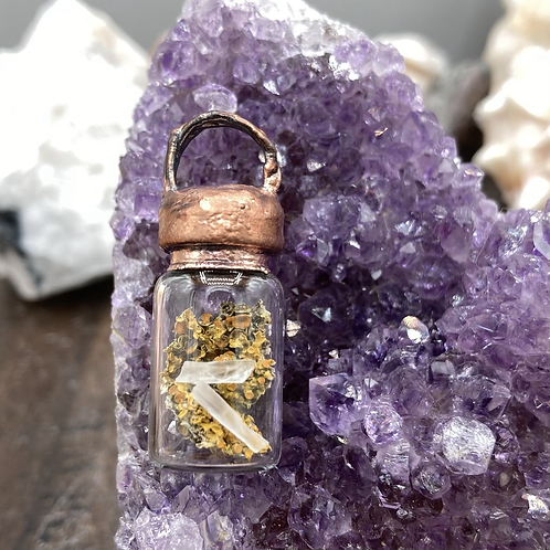 "Fungi and Quartz ""Earth""  Element Bottle Necklace"