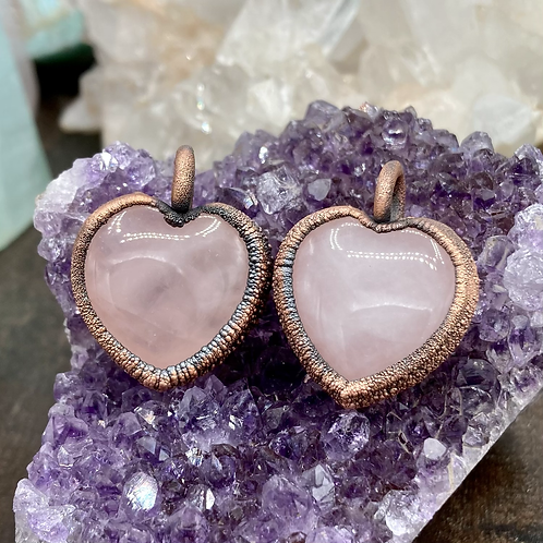 Textured Rose Quartz Heart