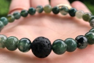 Green Moss Agate and Lava Crystal Healing Bracelet