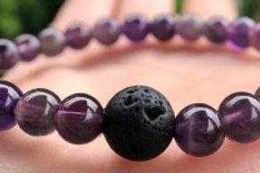 Amethyst and Lava crystal healing bracelet