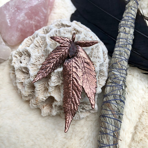 Copper Electroformed Indica Leaf Pendant with Pink Tourmaline