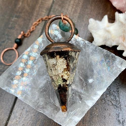Moss and Moss Agate Pendulum