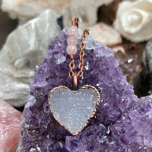 Small Druzy Heart with Rose Quartz
