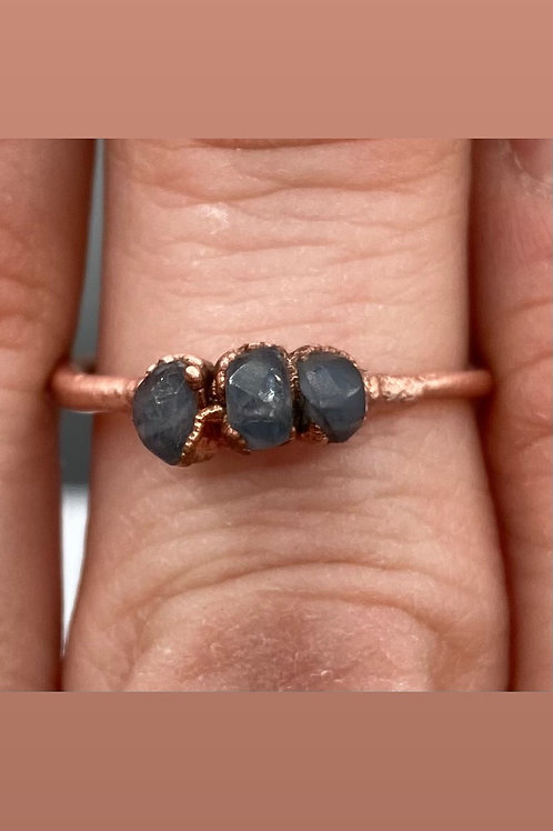 Copper Electroformed Three Stone Sapphire Ring Size ~7
