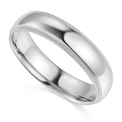14k White Gold 5-mm Comfort-fit Milgrain and polished Wedding Band