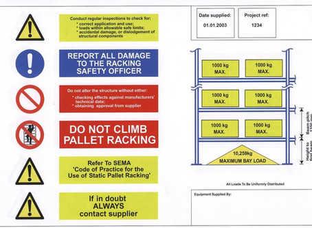 Load notices are vital to ensure safe loading of storage racks.