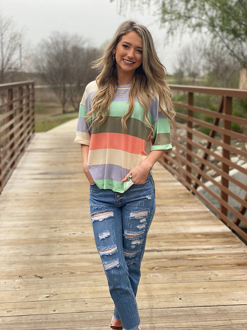 Pastel Striped Top