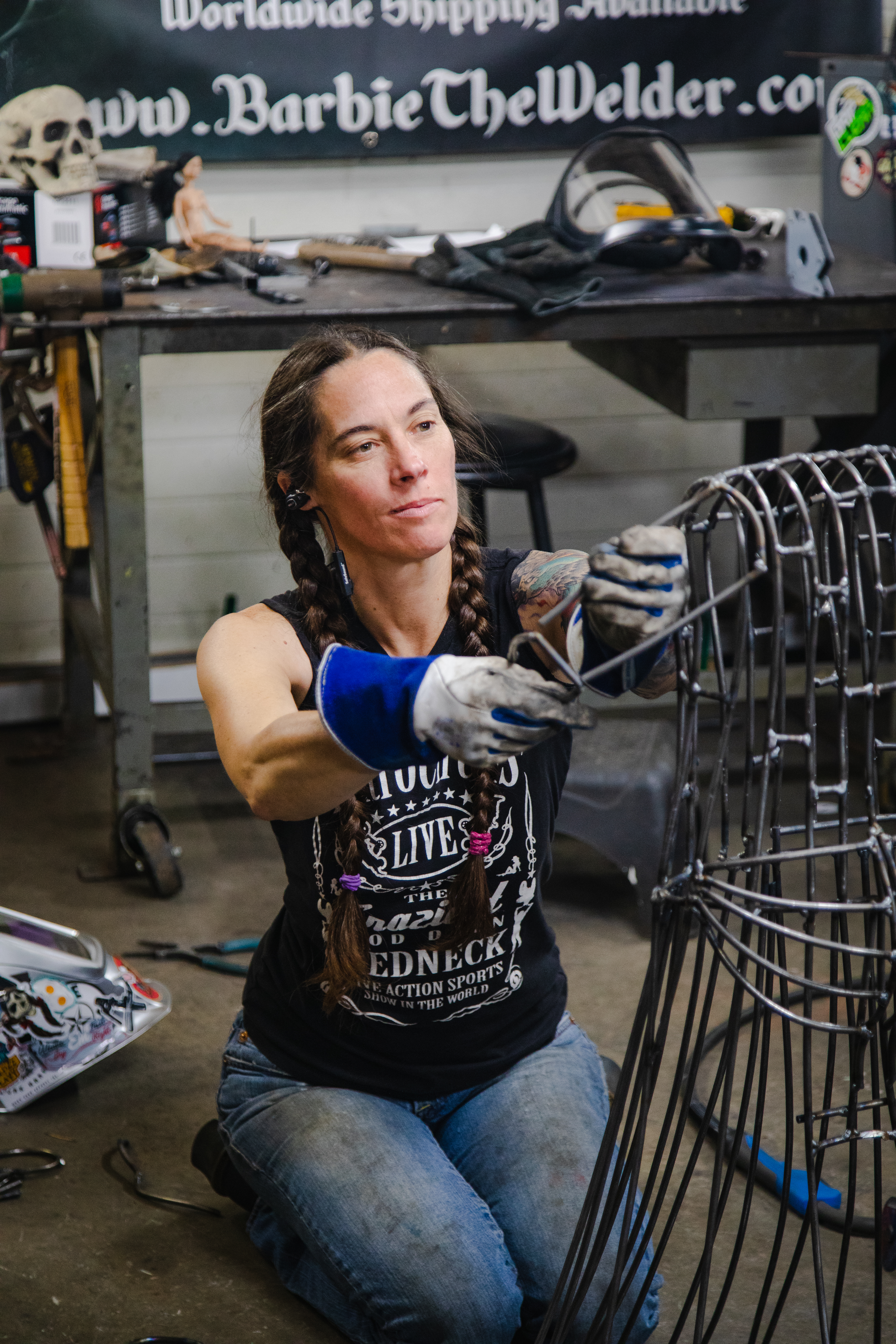 Barbie The Welder working on The American Welding Society commission Statue Of Liberty