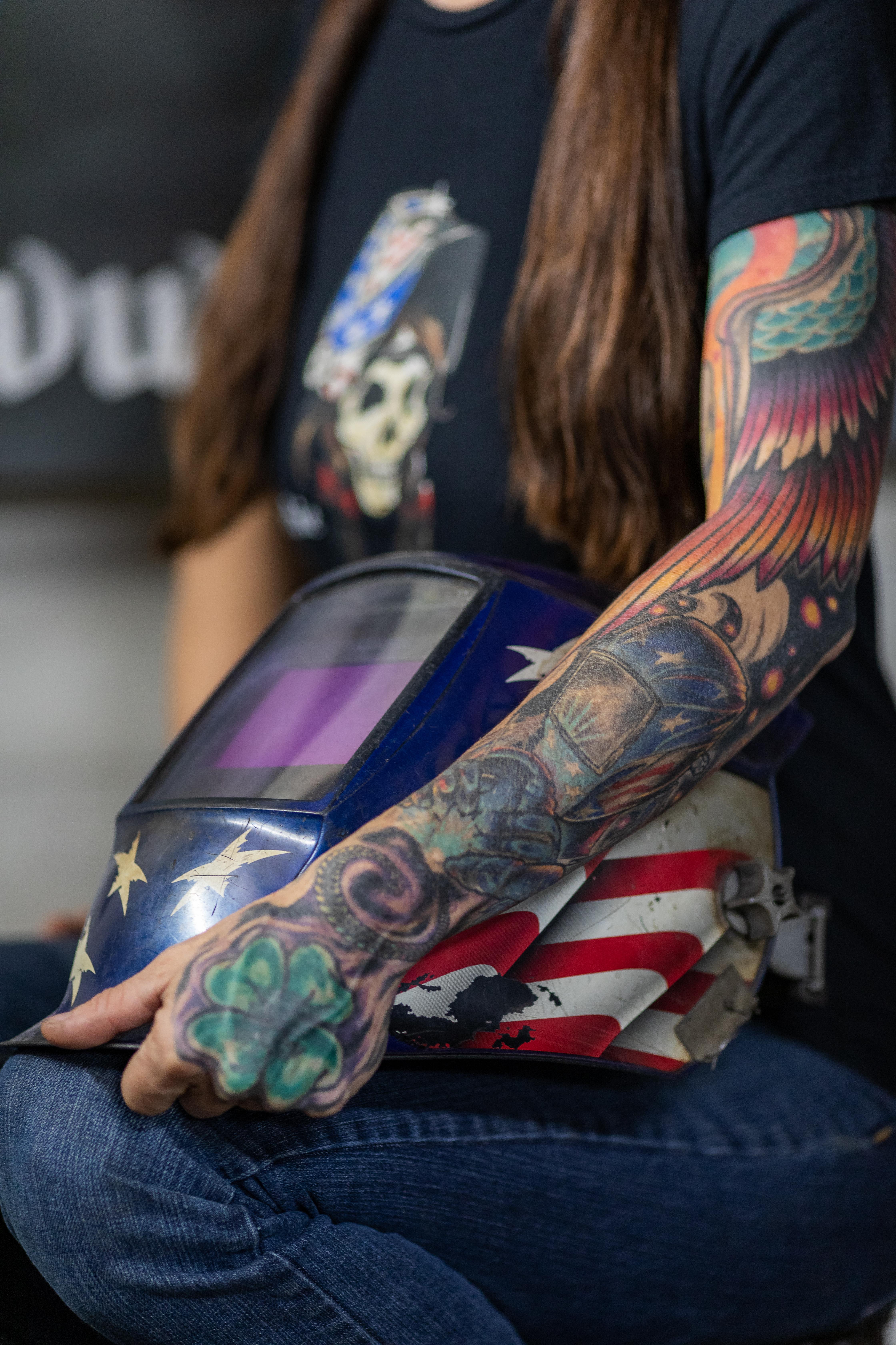 Barbie The Welder Sleeve Tattoo; Dusty Griffith Tattoorolo Corning, NY TIG Welding