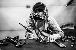 Barbie The Welder preparing to TIG weld Luna wolf woman