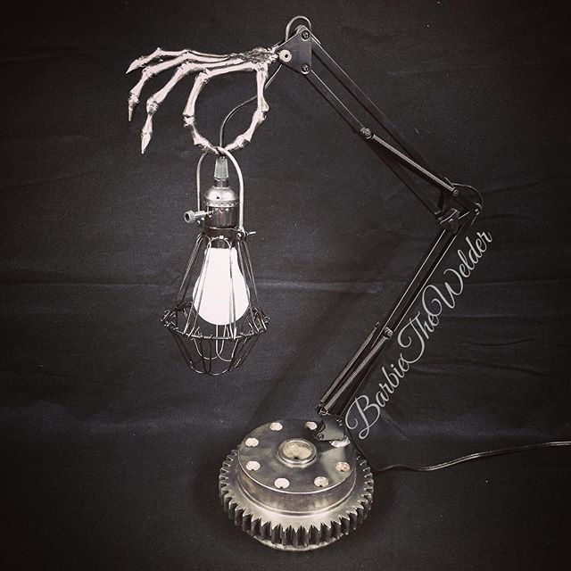 Skeleton Arm Desk Lamp by Sculptor Barbi