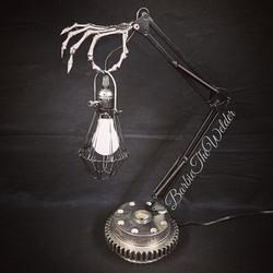 Skeleton Arm Desk Lamp by Sculptor Barbi