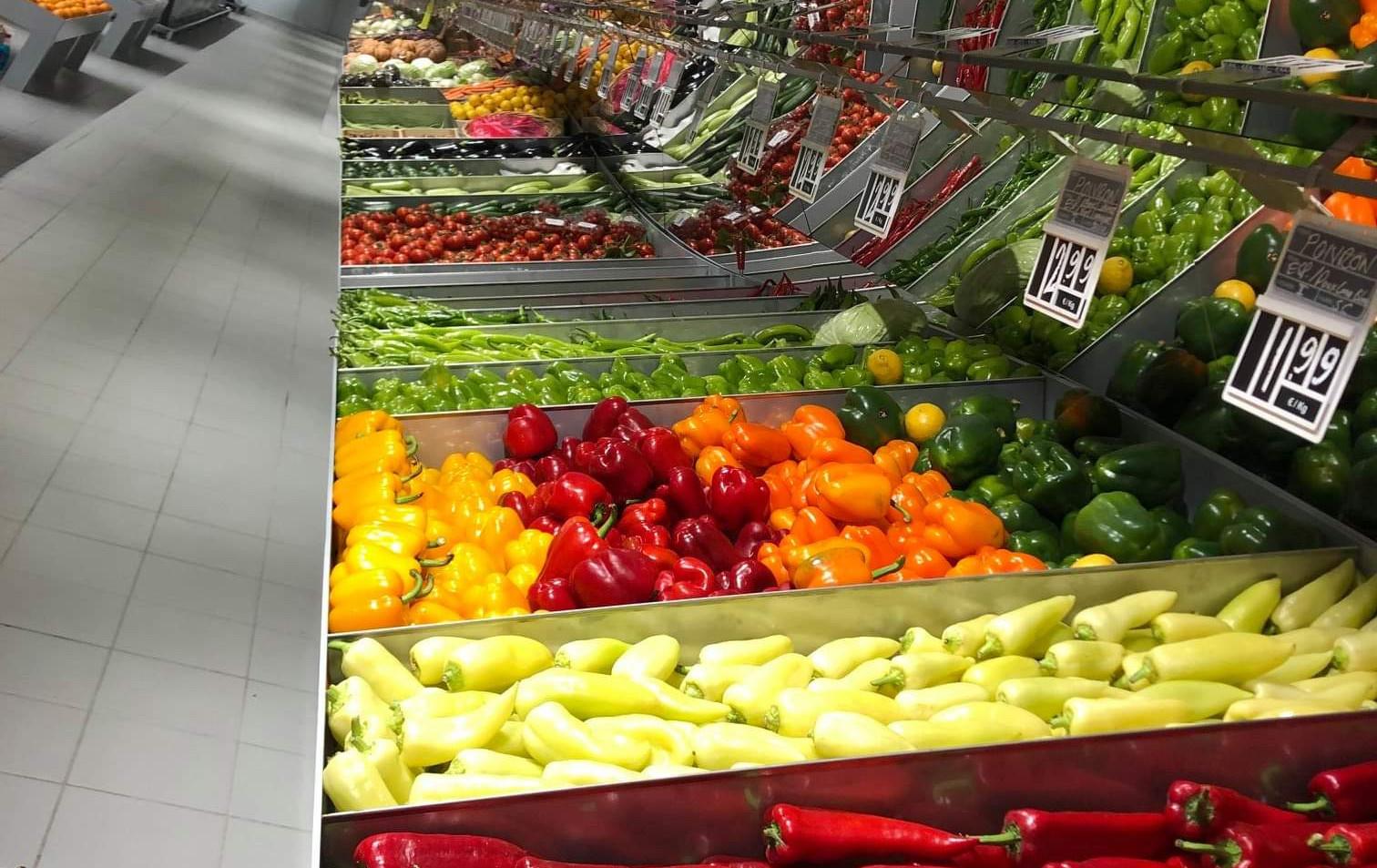 Mural fruits et légumes en vague