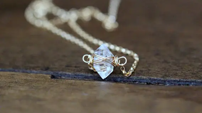 Herkimer Diamond Caged Necklace